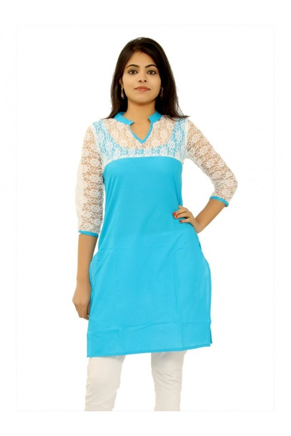 Festival Wear Readymade Sky Blue Cotton Kurti - K-11
