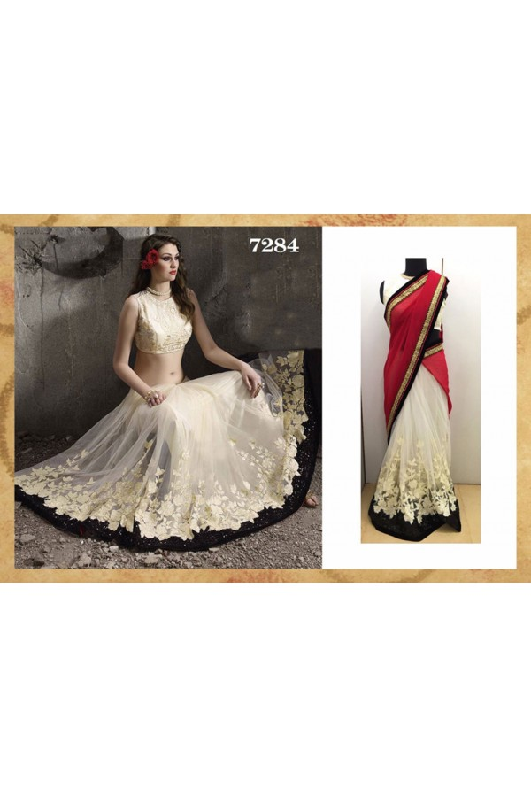 Bollywood Replica - Wedding Wear Pink & Off-White Saree - 7284