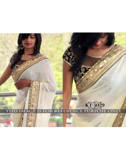 Bollywood Replica - Designer Cream Saree - KT-3029