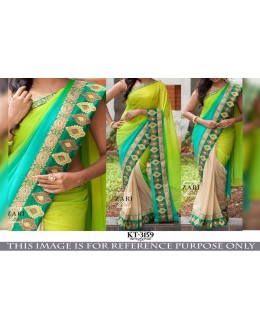 Bollywood Style - Wedding  Wear Green & Cream Saree - KT-3159