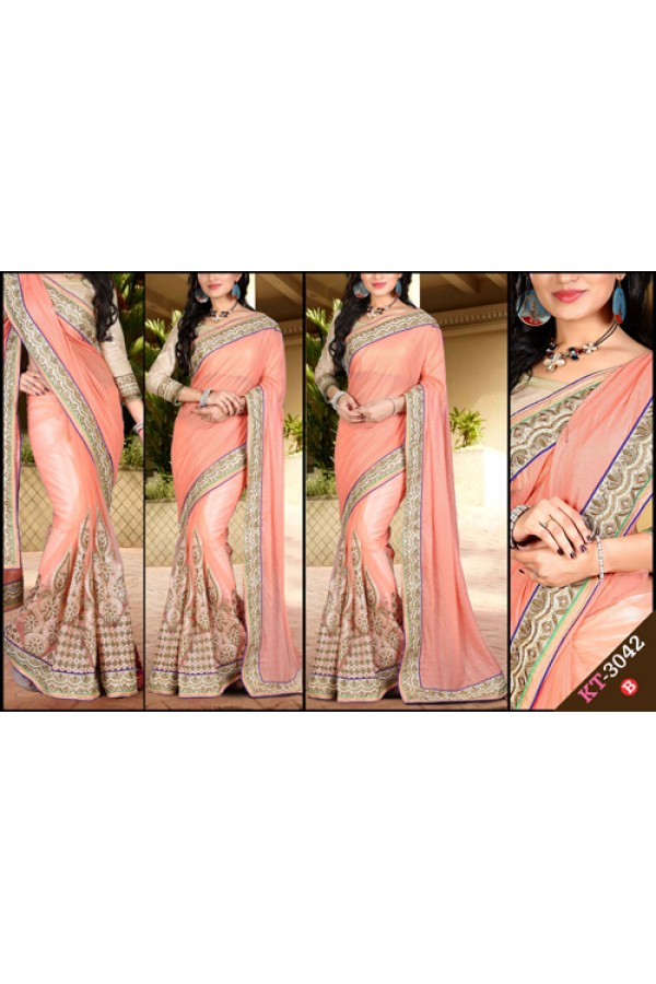 Bollywood Replica - Designer Peach Saree - KT-3042-B