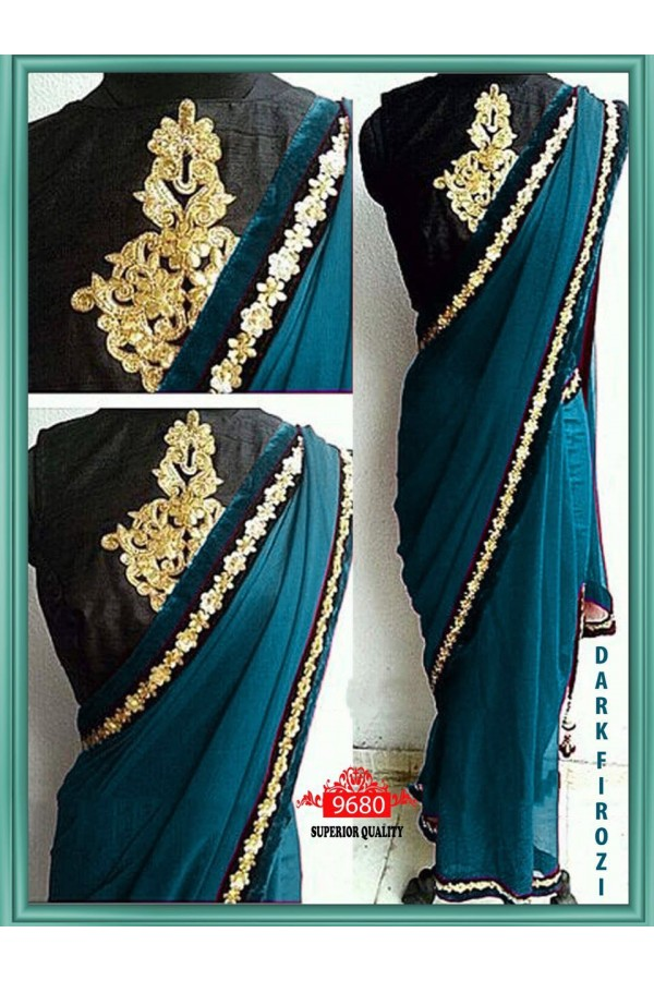 Bollywood Replica - Wedding Wear Dark Firozi Saree - 9680-B