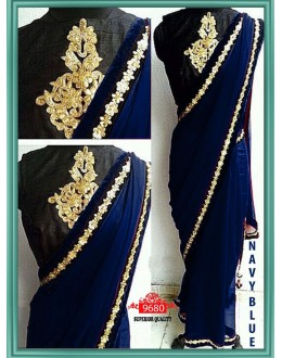 Bollywood Replica - Party Wear Navy Blue Saree - 9680-C