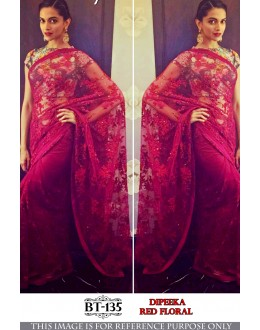 Bollywood Replica - Deepika Padukone In Red Floral Net Saree - BT-135