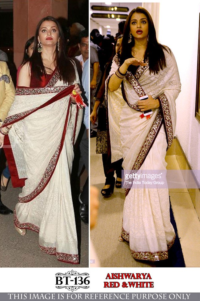 Bollywood Replica - Aishwarya Rai In Designer White & Red Georgette Saree - BT-136