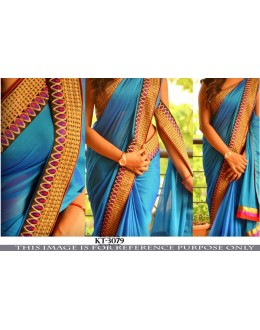 Bollywood Replica - Party Wear Blue Paper Silk Georgette Saree - KT-3079