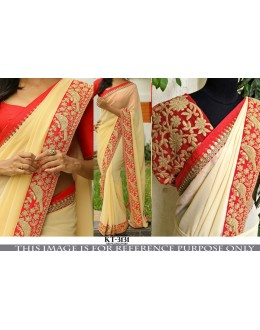 Bollywood Replica - Party Wear Cream & Red Georgette Saree - KT-3131