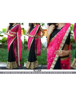Bollywood Replica - Designer Pink & Black Hal & Half Saree - KT-3138