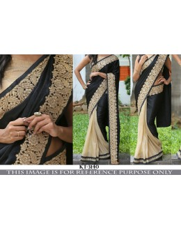 Bollywood Replica - Wedding Wear Black & Beige Saree - KT-3140