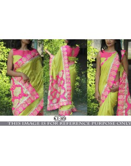 Bollywood Replica - Designer Green & Pink Saree - KT-3151