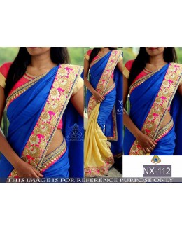 Bollywood Replica - Ethnic Blue & Cream Saree - NX-112