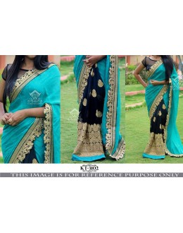 Bollywood Replica - Wedding Wear Blue & Black Saree - KT-3102