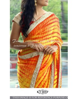 Bollywood Replica - Designer Orange Silk Georgette Saree - KT-3047