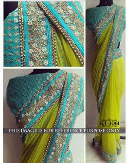 Bollywood Replica - Designer Green & Blue Saree - KT-3061