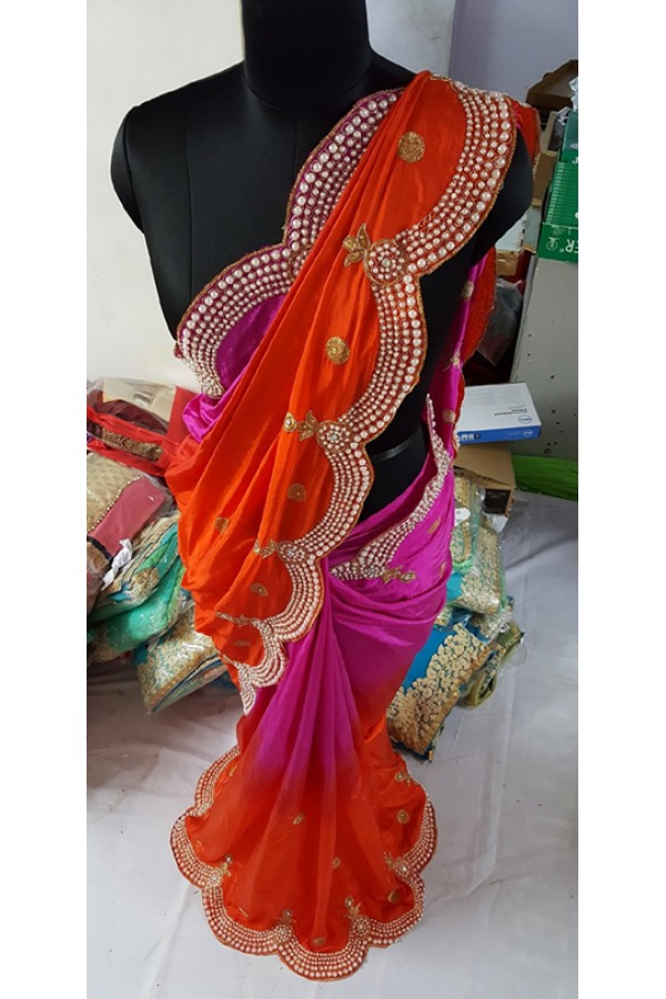 Bollywood Replica - Designer Pink Silk Georgette Saree - KT-3038