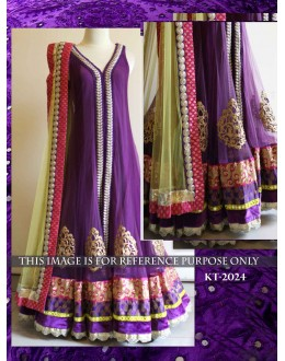 Bollywood Replica- Designer Purple Nylon Net Long Gown - kt-2024