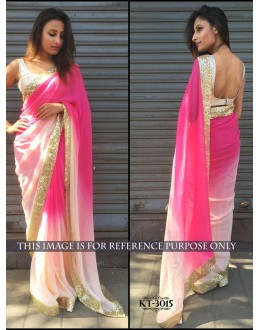 Bollywood Replica - Fancy Shaded Pink Party Wear Saree - kt-3015