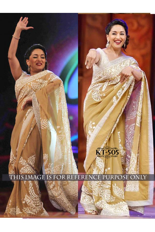 Bollywood Replica - Madhuri Dixit In Beige Georgette Saree - KT-505
