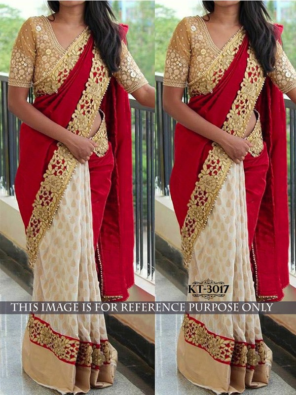Bollywood Replica - Wedding Wear Cream & Red Saree - kt-3017