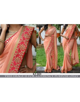 Bollywood Replica- Wedding Wear Peach Georgette Saree - KT-3124