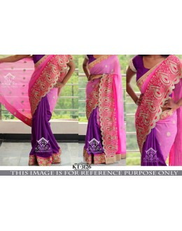 Bollywood Replica- Wedding Wear Pink & Purple Saree - KT-3126