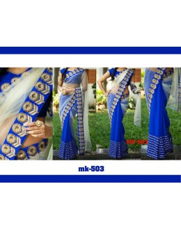 Bollywood Replica - Designer Cream & Blue Saree - Mk-503