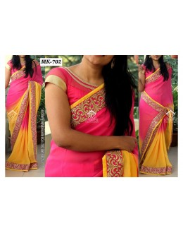 Bollywood Replica - Designer Pink & Yellow Saree - Mk-702