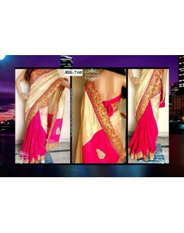 Bollywood Replica - Designer Pink & Cream Saree - Mk-710