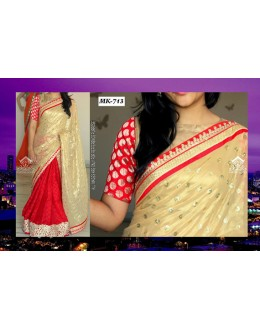 Bollywood Replica - Designer Cream & Red Saree - Mk-713