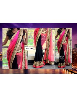 Bollywood Replica - Designer Pink & Black Saree - Mk-715