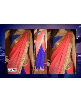 Bollywood Replica - Designer Peach & Blue Saree - Mk-716