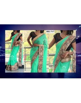 Bollywood Replica - Designer Parrot Green Saree - Mk-717