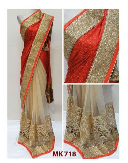 Bollywood Replica - Designer Red & Cream Saree - Mk-718