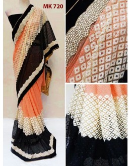 Bollywood Replica - Designer Peach & Black Saree - Mk-720