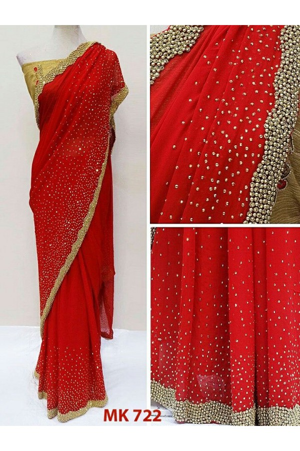Bollywood Replica - Designer Red Saree - Mk-722