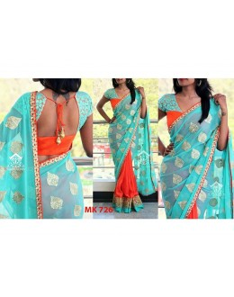 Bollywood Replica - Designer Sky Blue & Orange Saree - Mk-726