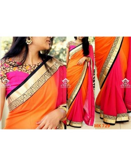 Bollywood Replica - Designer Pink & Orange Saree - Mk-729