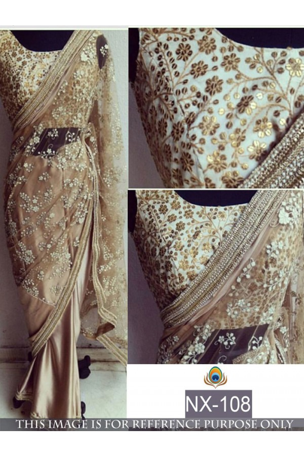 Bollywood Replica - Designer Beige Sequins Embellished Saree - NX-108