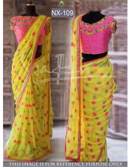 Bollywood Replica - Fancy Yellow & Pink Georgette Saree - NX-109