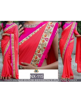 Bollywood Replica -Beautiful Tomato Red & Pink Saree - NX-115