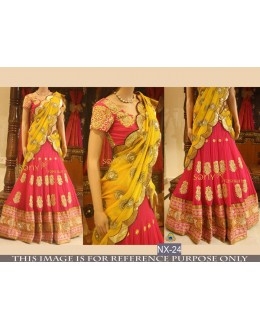 Bollywood Replica - Bridal Pink & Yellow Lehenga Choli - NX-24