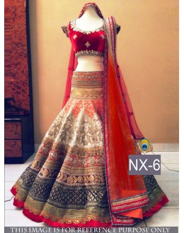 Bollywood Replica - Bridal Red & Cream  Lehenga Choli - NX-6