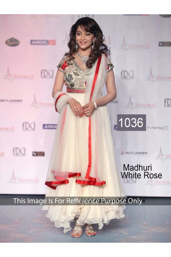 Bollywood Replica - Madhuri Dixit Designer White Anarkali Suit  - 1036