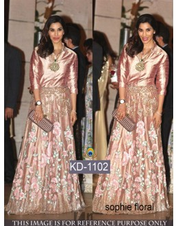 Bollywood Replica - Sophie Designer Peach Joya Silk Gown - KD-1102