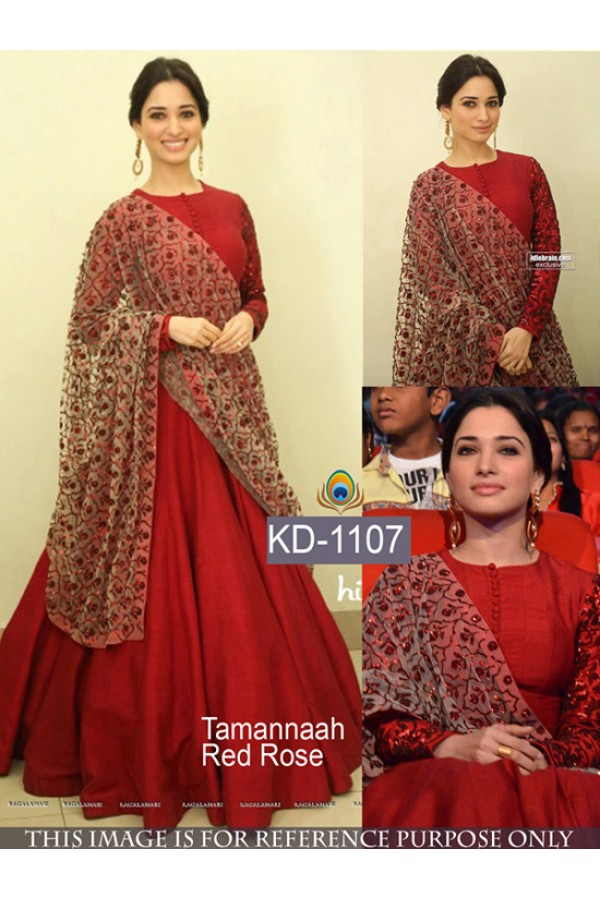 Tamannah Bhatia In Red Party Wear Gown Kd 1107