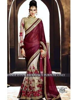 Lycra Silk Georgette Off White Saree - 1515