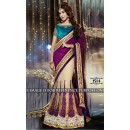 Party Wear Georgette Beige Lehenga Saree - 1514