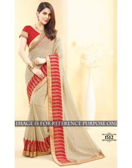 Party Wear Georgette Beige Saree - 1512