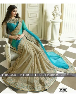Party Wear Silk Georgette Cream Saree - 1520