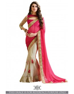Bollywood Inspired - Party Wear Pink Half & Half Saree - 1534